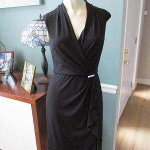 White House Black Market ruffle Stretch Dress 0